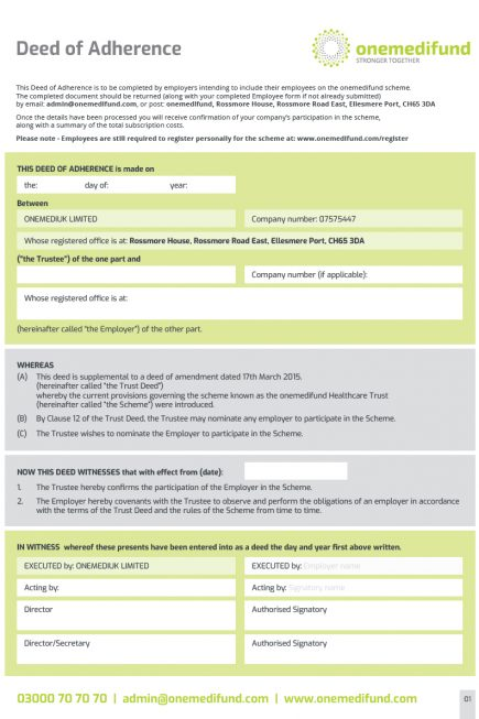 Deed of Adherence form